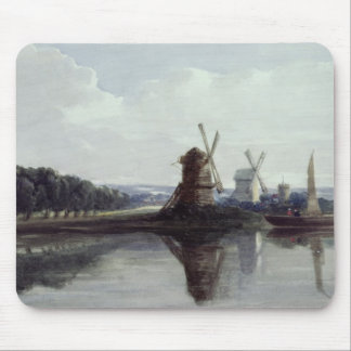 Windmills by a River, 19th century Mouse Pad