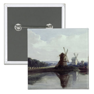 Windmills by a River 19th century Pins