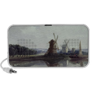 Windmills by a River, 19th century Portable Speakers