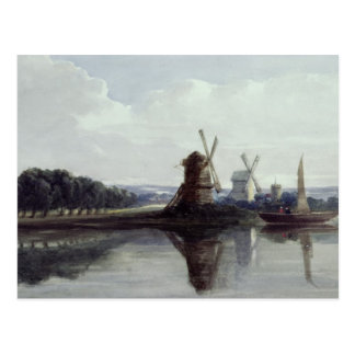 Windmills by a River, 19th century Postcard