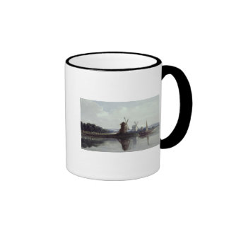 Windmills by a River, 19th century Ringer Mug