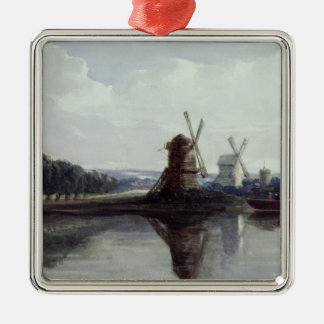 Windmills by a River, 19th century Silver-Colored Square Decoration