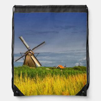 Windmills in Kinderdijk, Holland, Netherlands Drawstring Bag