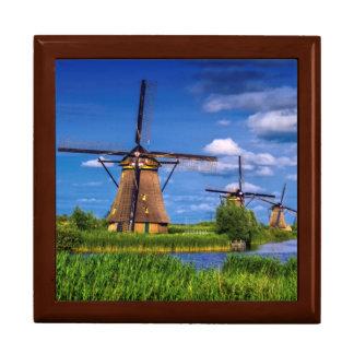 Windmills in Kinderdijk, Holland, Netherlands Large Square Gift Box