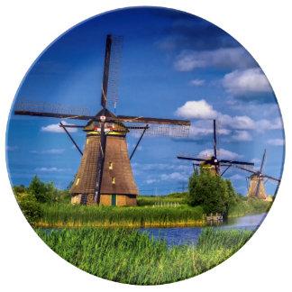 Windmills in Kinderdijk, Holland, Netherlands Plate