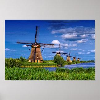 Windmills in Kinderdijk, Holland, Netherlands Poster