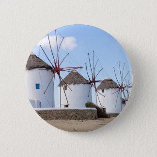 Windmills in Mykonos 6 Cm Round Badge