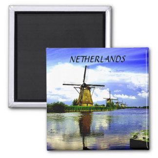 WINDMILLS OF KINDERDIJK, NETHERLANDS SQUARE MAGNET