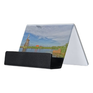 windmills of Kinderdijk world heritage site Desk Business Card Holder