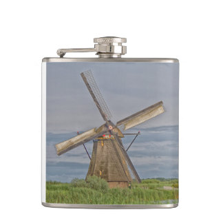 windmills of Kinderdijk world heritage site Hip Flask