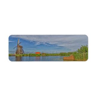 windmills of Kinderdijk world heritage site Return Address Label