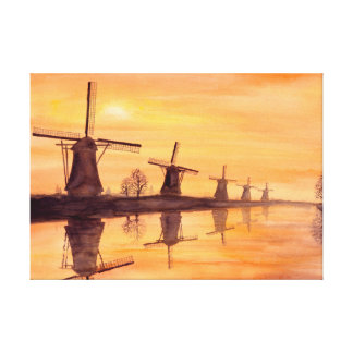 Windmills Sunset Watercolor Painting Canvas Print