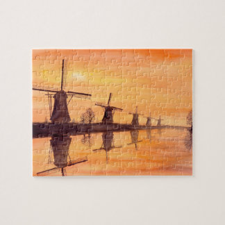 Windmills Sunset Watercolor Painting Jigsaw Puzzle