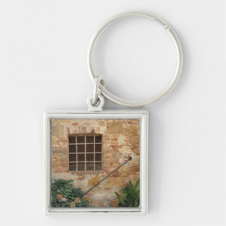 Window and ancient stone wall, Pienza, Italy Silver-Colored Square Key Ring