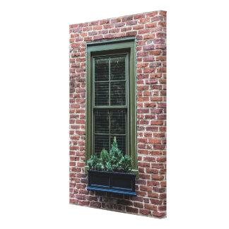 Window Box on Brick Canvas Print
