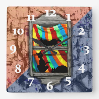 WINDOW CATS 2  TONE by Slipperywindow Square Wall Clock
