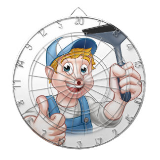 Window Cleaner Holding Squeegee Dartboard