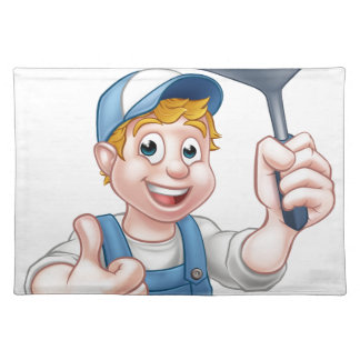 Window Cleaner Holding Squeegee Placemat