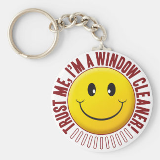 Window Cleaner Trust Smiley Basic Round Button Key Ring