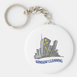 Window Cleaning Basic Round Button Key Ring