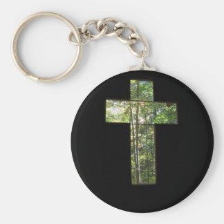 Window Cross Basic Round Button Key Ring