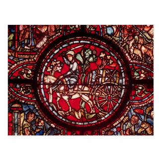 Window depicting a wine merchant postcard