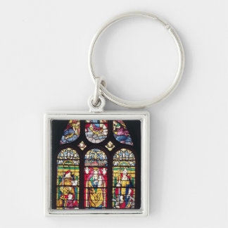 Window depicting the Virgin and Child Silver-Colored Square Key Ring
