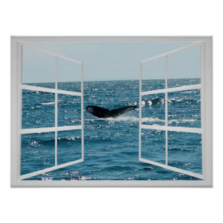 Window Frame with Whale Tail Poster