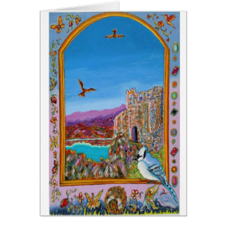 Window on Italian castle by the sea Card