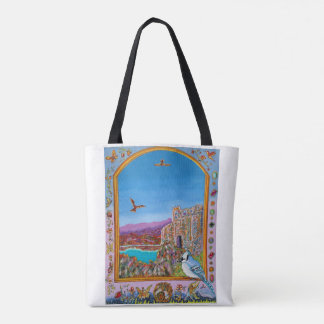 Window on Italian castle by the sea Tote Bag