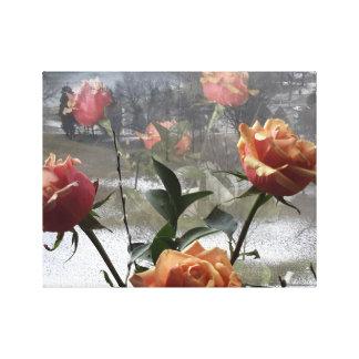 Window reflection Peach Pink Floral Rose Bouquet Canvas Print