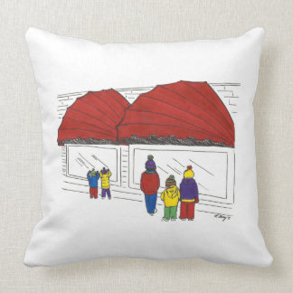 Window Shopping New York City NYC Christmas Pillow