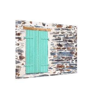 Window Shutters on a Rustic Rock Wall Canvas