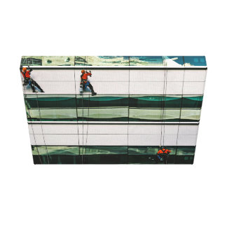 Window Themed, Few Men Hanging With Saftey Cable A Canvas Prints