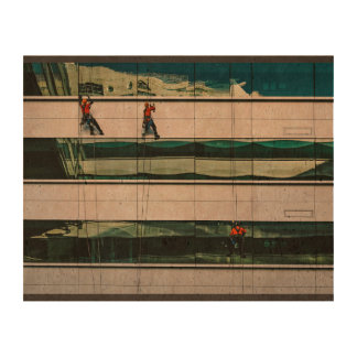 Window Themed, Few Men Hanging With Saftey Cable A Queork Photo Print