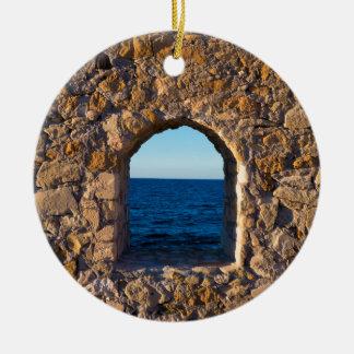Window to the Aegean Sea Ceramic Ornament