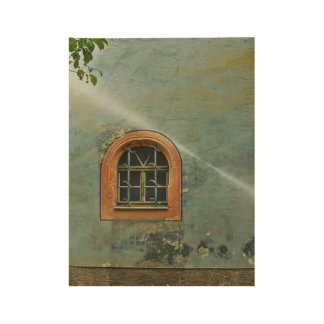 Window under the Tree Poster Print Wood Poster