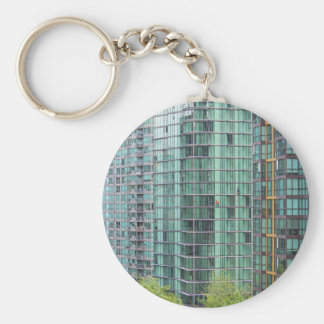 Window washers on downtown high rise building keychain