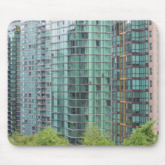Window washers on downtown high rise building mouse pad
