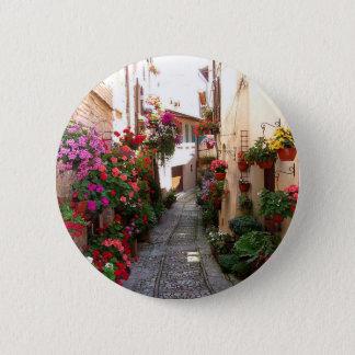 Windows, balcony and flower alleys 6 cm round badge