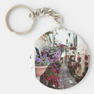 Windows, balcony and flower alleys in Spello Key Ring