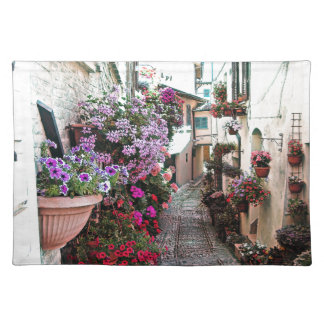 Windows, balcony and flower alleys in Spello Placemat