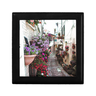 Windows, balcony and flower alleys in Spello Small Square Gift Box