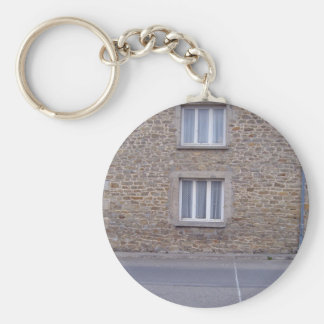 Windows In Rough Stone Wall House With Lace Curtai Basic Round Button Key Ring