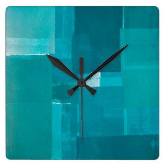 'Windows' Teal Abstract Art Clocks