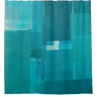 'Windows' Teal Abstract Art Shower Curtain