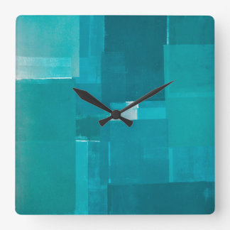 'Windows' Teal Abstract Art Square Wall Clock