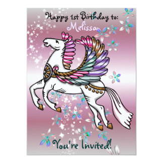 Winds and Wings Pegasus  BIRTHDAY BABY SHOWER 17 Cm X 22 Cm Invitation Card