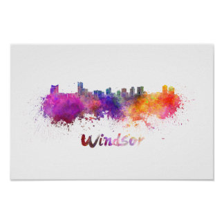Windsor skyline in watercolor poster