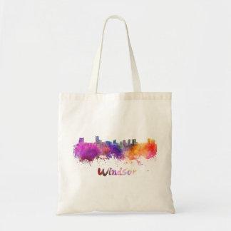 Windsor skyline in watercolor tote bag